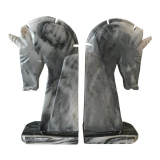 Grey Marble Horse Head Bookends - a Pair For Sale