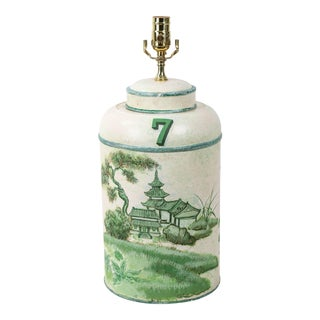 Vintage English Export Tea Caddy Hand-Painted Chinoiserie Landscape Table Lamp For Sale