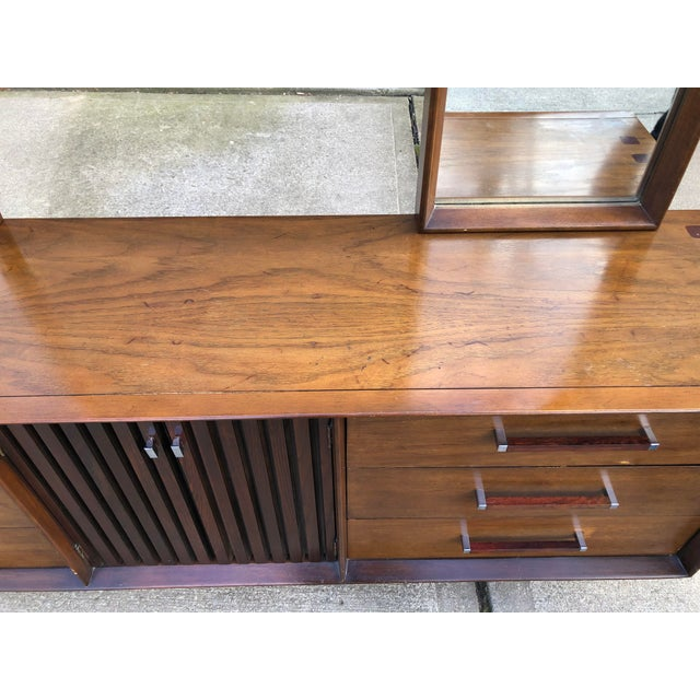 Lane  brutalist 1960s Vintage Mid Century Lane Brutalist Dresser With Mirror For Sale - Image 4 of 13