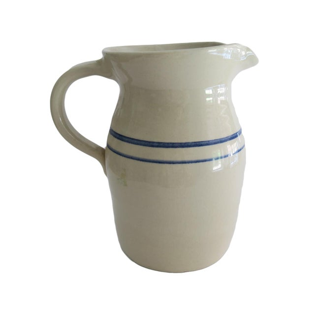 Cottage Vintage Marshall Pottery White and Blue Striped Stoneware Crock Pitcher For Sale - Image 3 of 6