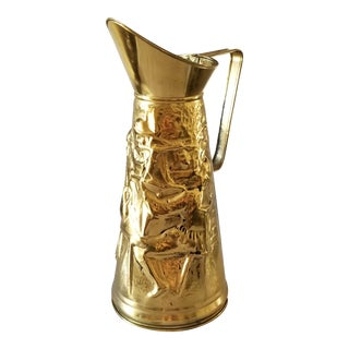 Vintage Hammered Brass Repousse Pitcher Peerage England For Sale