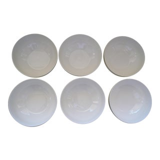 Vintage Japanese Porcelain Bowls- Set of 6 Wide in White For Sale