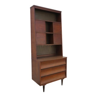 Mid Century Modern Two Part Small Dresser With Bookcase Display Cabinet 2354 For Sale