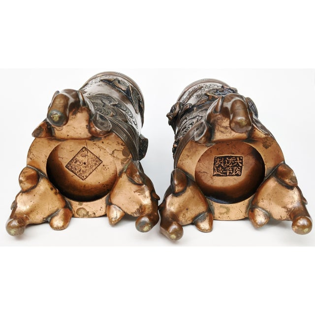 Early 20th Century Asian Antique Chinese Elephant Footed & Heron Bird Bronze Vases - a Pair For Sale - Image 10 of 13