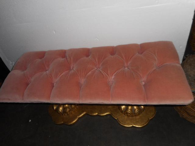 Regency Hollywood Pink Tuft Chair Bench Vanity Stool