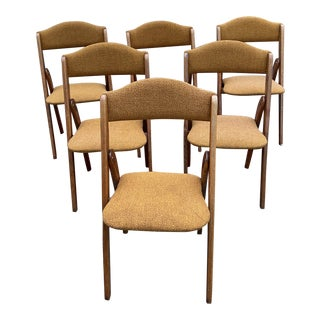 1950's Mid-Century Modern Teak Folding Chairs Styled After Norquest - a Set of 6 For Sale