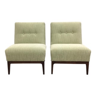 1960s Mid-Century Modern Light-Green Upholstered Walnut Side Chairs - a Pair