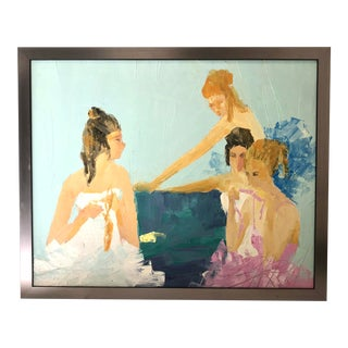 """""""Dancers"""" Colorful Oil Painting of Four Dancers Sitting For Sale"""