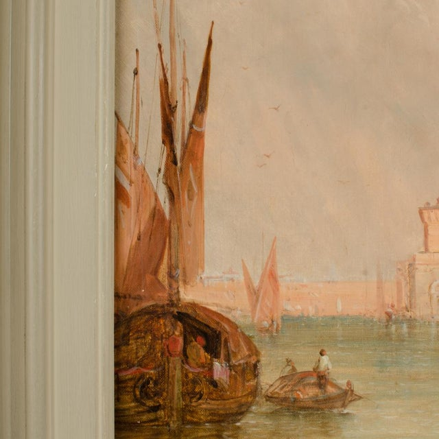 "Green Late 19th Century ""S. Maria Della Salute, Venice"" Oil Painting by Alfred Pollentine, Framed For Sale - Image 8 of 12"
