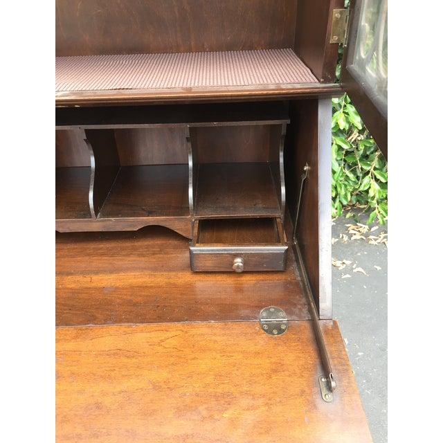 Antique Drop Front Secretary Desk >> Antique Chippendale Slant Drop Front Secretary Desk With Bookcase And Key