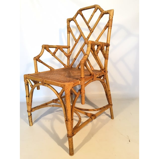 Bamboo Chinese Chippendale Cane Seat Dining Chairs - Set of 10 - Image 7 of 13
