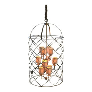 "Large Brass ""Bird Cage"" Style Chandelier"