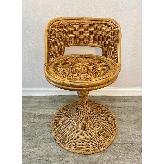 Danny Ho Fong Mid Century Modern Danny Ho Fong Woven Rattan Swivel Chairs - Set of 3 For Sale - Image 4 of 7