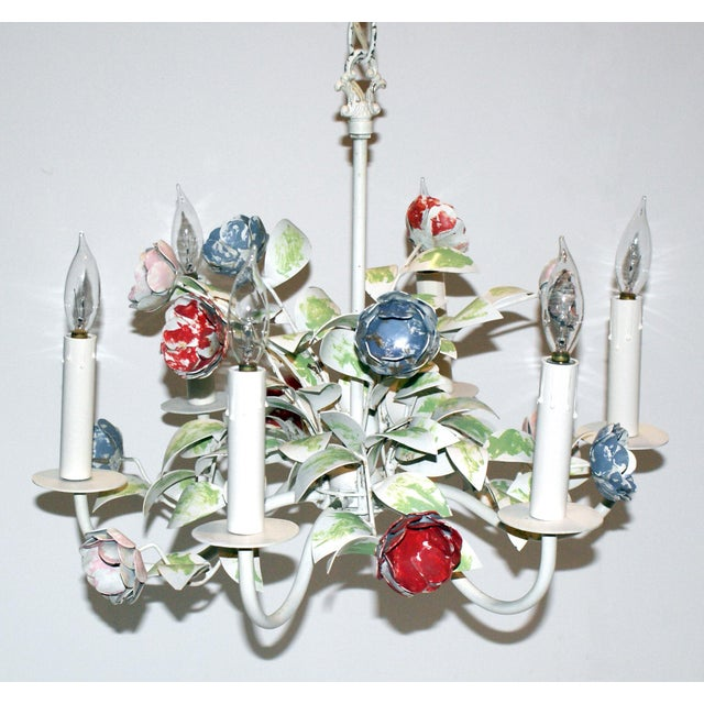 Vintage Shabby Chic Floral Tole Chandelier For Sale - Image 4 of 4