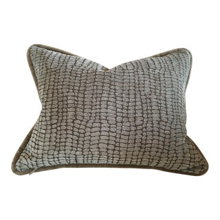 Velvet Taupe & Blue Pillow Cover For Sale