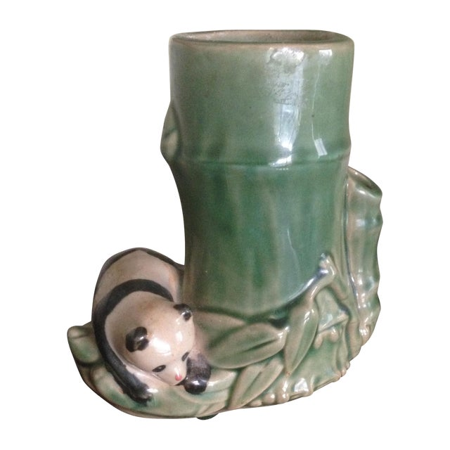 Mid-Century Faux Bamboo Ceramic Panda Vase For Sale