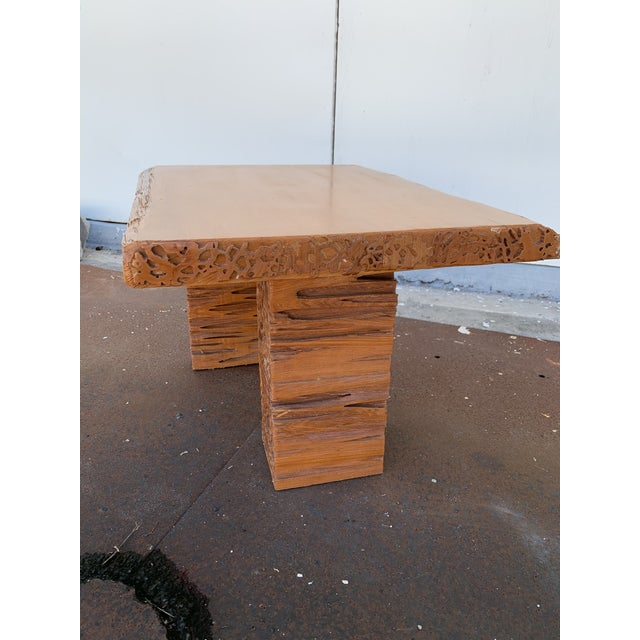 Modern Studio Craft Pecky Cypress Table For Sale - Image 3 of 11