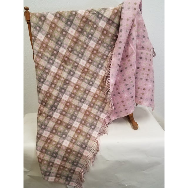 Textile Wool Throw Brown and White Polka Dots on Pink Background - Made in England For Sale - Image 7 of 13