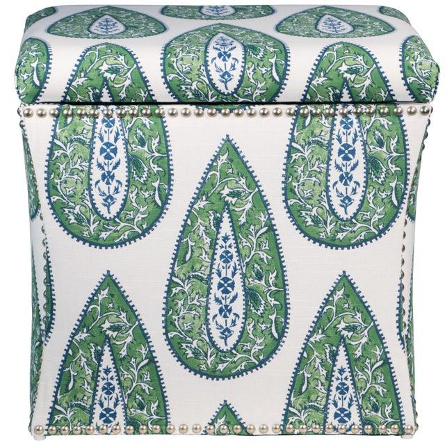 Boho Chic Bindi Kelly Cotton Storage Ottoman For Sale - Image 3 of 7