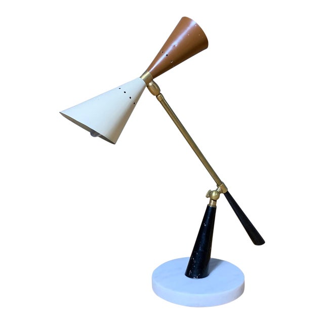 1950s Italian Desk Lamp, Lacquered Metal & Brass For Sale