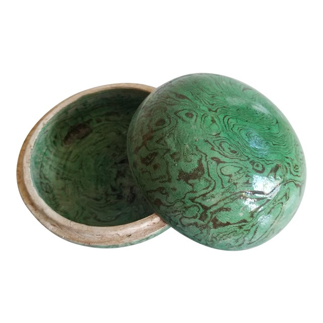 Green Marbled Ceramic Box For Sale