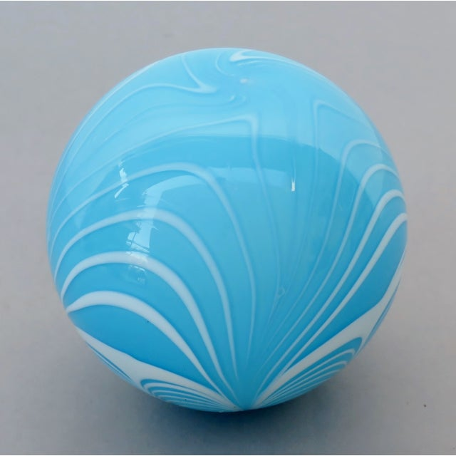 Tiffany Blue Blown Glass Witch Ball For Sale - Image 4 of 6