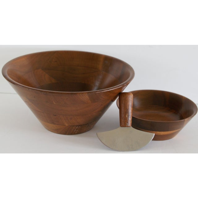 Mid-Century Walnut Salad Set - Image 5 of 8