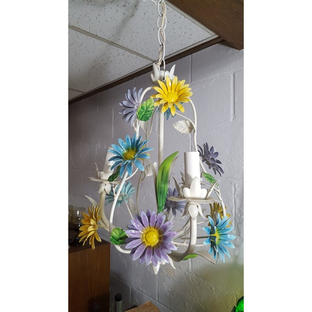 1970s Italian Floral Pastel Tole 3 Light Statement Chandelier For Sale - Image 4 of 8