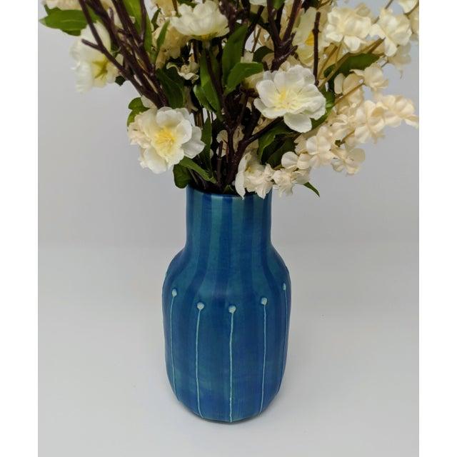 Boho Chic Jonathan Adler Inspired Handmade Mid-Century Modern Stripped and Dotted Blue Vase For Sale - Image 3 of 12