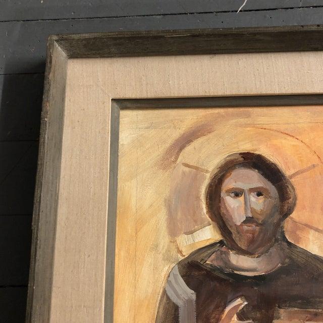 Contemporary Original Vintage Painting Saint Nicholas Modernist Frame For Sale - Image 3 of 5