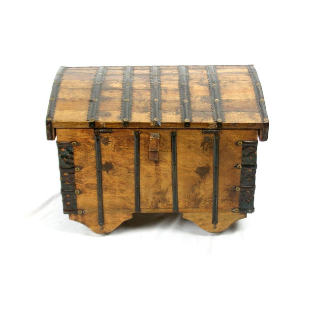 Hammered Brass Nailhead Trunk For Sale - Image 4 of 8