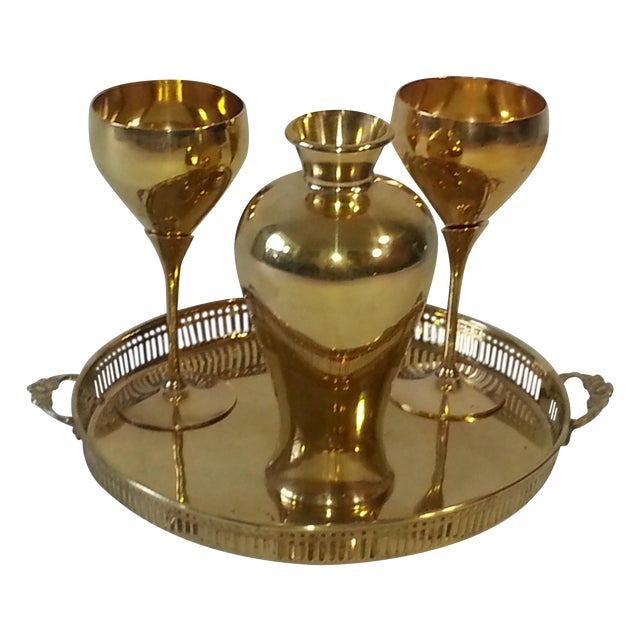 Mid-Century Brass Goblets, Vase & Tray - Set of 4 For Sale