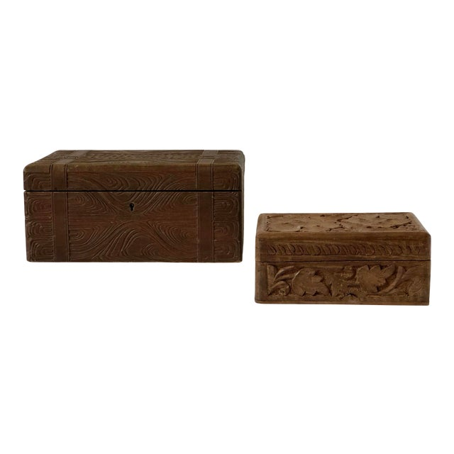 English Wooden Carved Boxes, 19th Century - a Pair For Sale