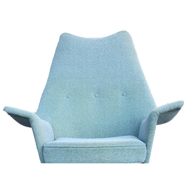 Adrian Pearsall Turquoise Walnut Wingback Chair - Image 2 of 7