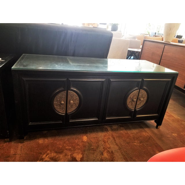 Century Furniture Black Lacquer Console Cabinet For Sale - Image 10 of 10
