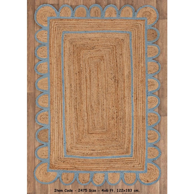 Sky Blue Scallop Jute Classic Blue Hand Made Rug - 5x7Ft. For Sale - Image 8 of 8