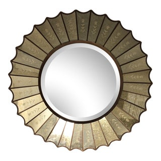 Amberlyn Sunburst Gold Round Mirror by Uttermost
