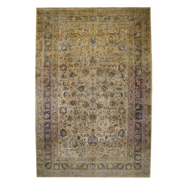 Antique Persian Mashad Rug with Modern Style in Soft Colors For Sale - Image 5 of 5