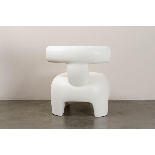 Robert Kuo Back Rest Chair - Cream Lacquer by Robert Kuo, Hand Repoussé, Limited Edition For Sale - Image 4 of 6