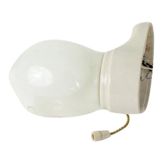 1930's Art Deco White Porcelain Sconce with Glass Shade For Sale