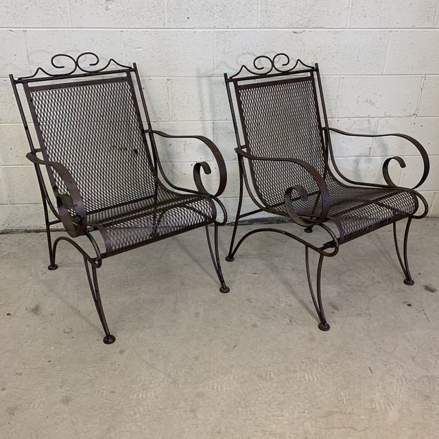 Vintage Iron Patio Chairs - a Pair For Sale - Image 11 of 11