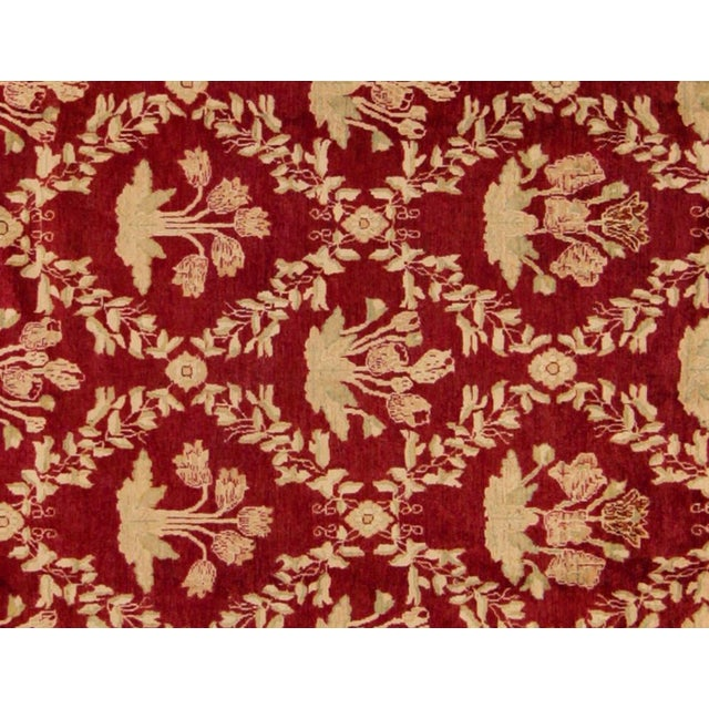 """Contemporary Peshawar Jacquely Red & Tan Wool Rug - 10'2"""" x 14' For Sale - Image 3 of 7"""