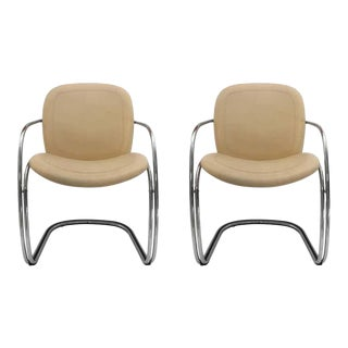 1970s Italian Chrome and Leather Chairs by Gastone Rinaldi for Rima - a Pair For Sale