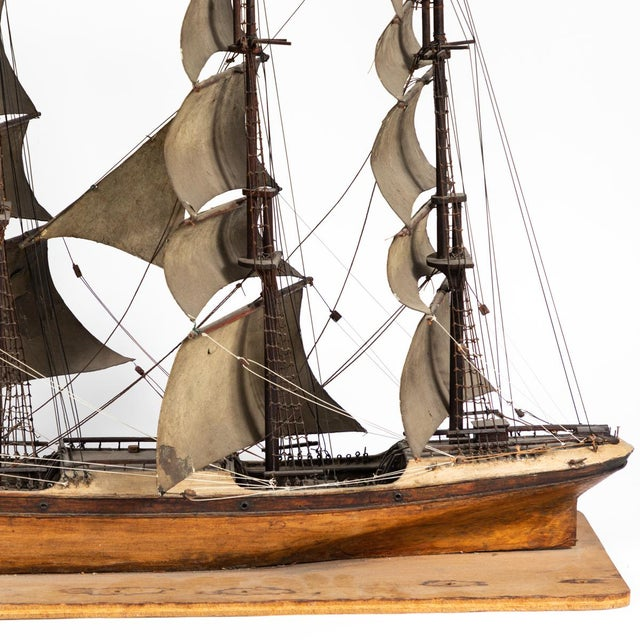 Brown Late 19th Century Handmade Wooden Ship Model From France For Sale - Image 8 of 11
