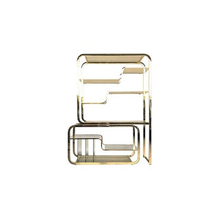 1980s Mid-Century Modern Design Institute of America (Dia) Brass and Glass Etagere For Sale