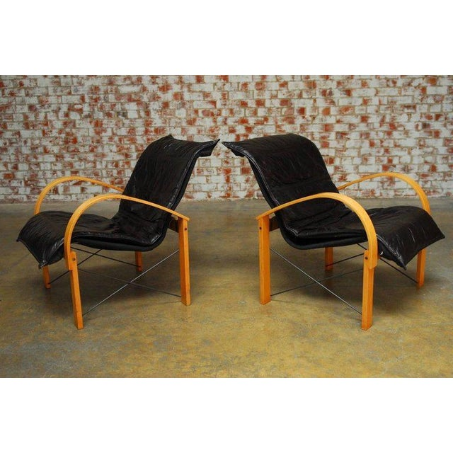 Mid-Century Modern Mid-Century Danish Bentwood & Leather Armchairs - A Pair For Sale - Image 3 of 10