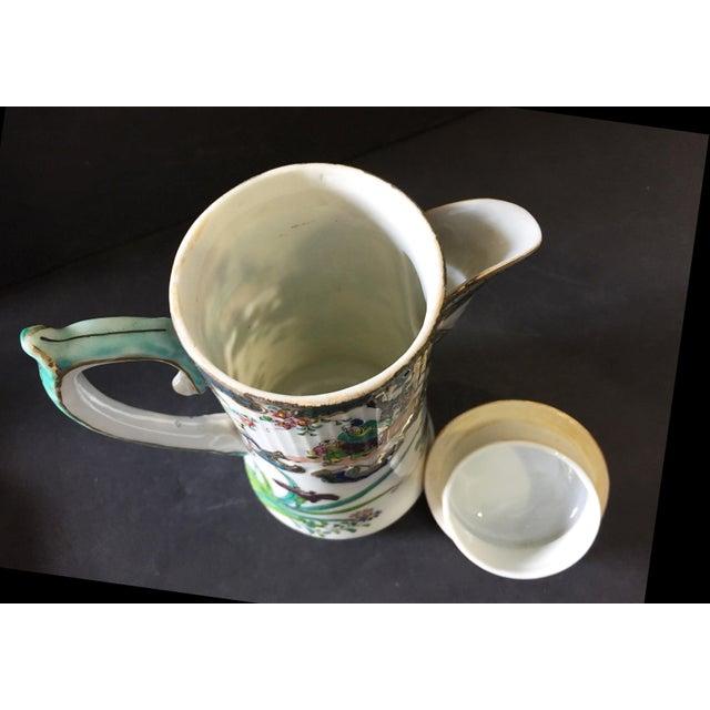 "Old H Painted Asian Porcelain Tea Pot 8.75"" H For Sale - Image 4 of 9"