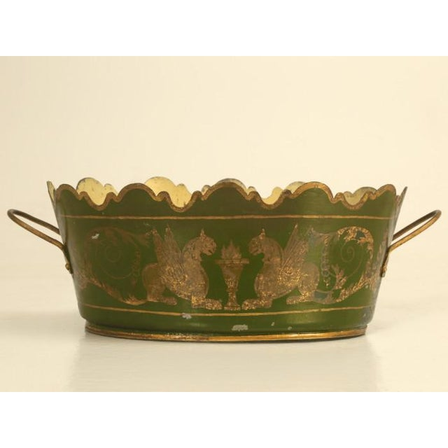 Metal French Tole Jardinière, Circa 1800s For Sale - Image 7 of 9