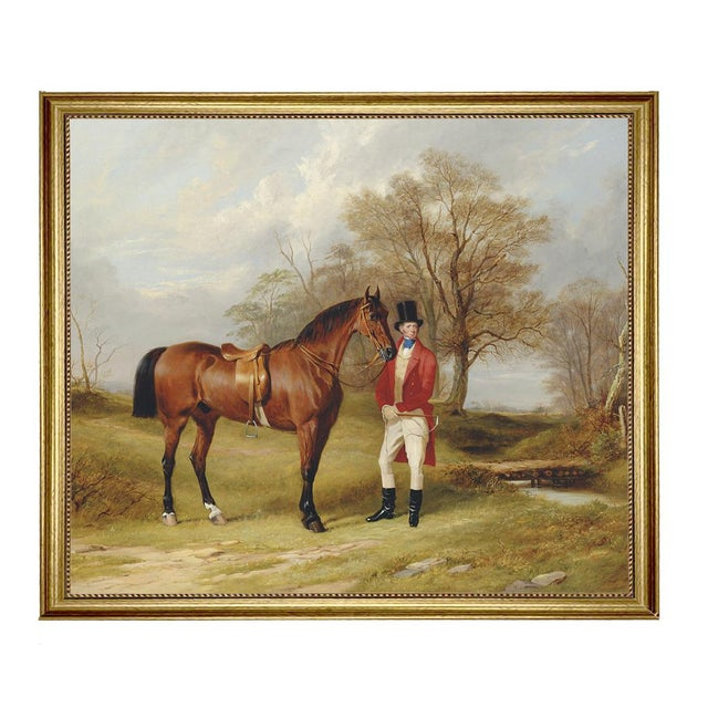 Gentleman Standing Beside Saddled Hunter Framed Oil Painting Print on Canvas in Antiqued Gold Frame For Sale - Image 4 of 4