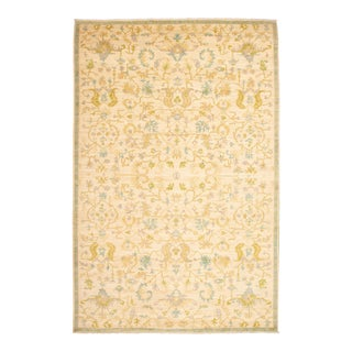 Boho Chic Hand-Knotted Wool Rug For Sale
